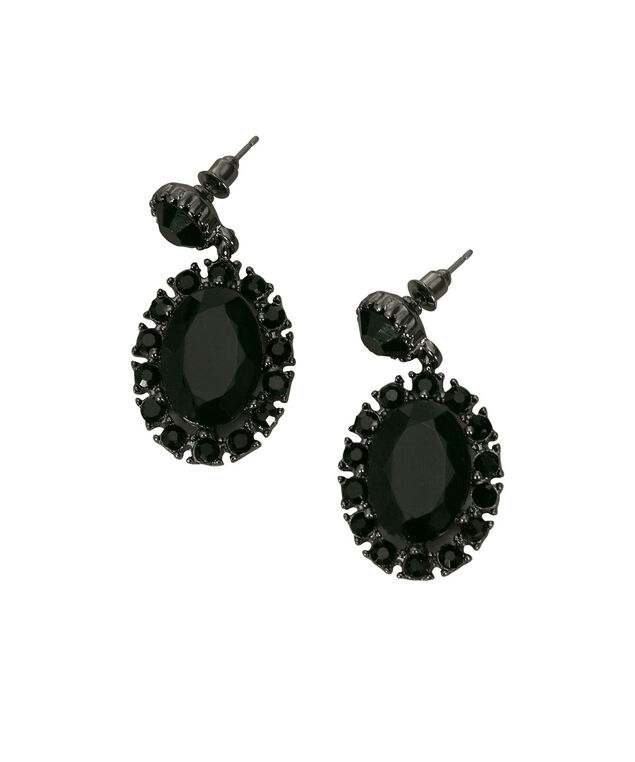 Crystal Drop Earring, Black/Hematite, hi-res