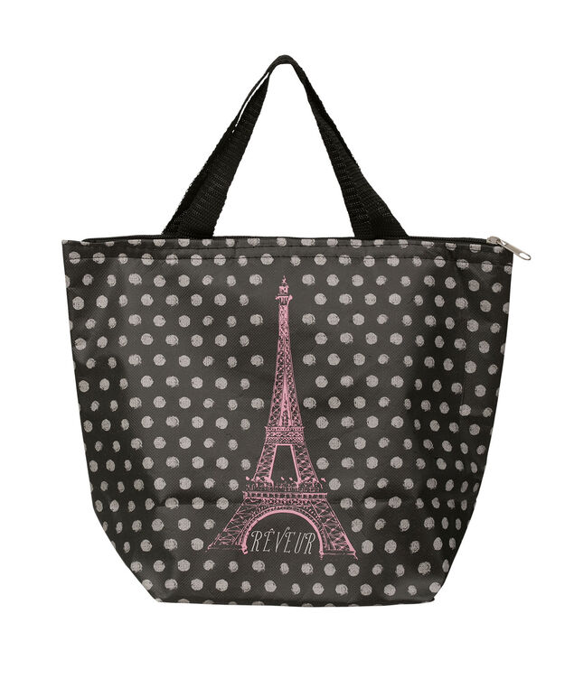 Midnight In Paris Insulated Lunch Tote, Black/Pink, hi-res