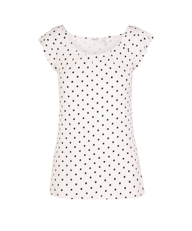 Polka Dot Flutter Sleeve Top, White/Black Dot, hi-res