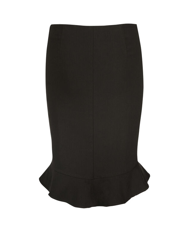 Microtwill Flounce Skirt, Black, hi-res