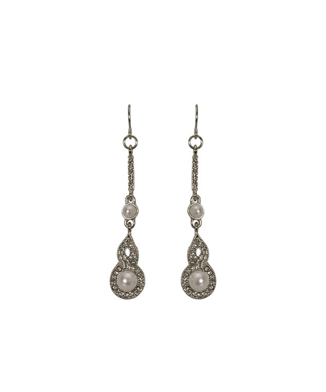 Pearl & Crystal Drop Earring, White/Clear/Rhodium, hi-res