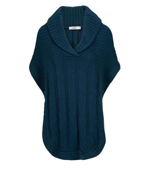 Shawl Collar Capelet, Deep Teal, hi-res
