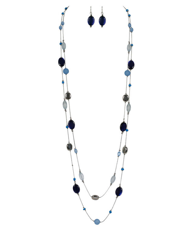 Stationed Blue Bead Necklace Set, Soft Blue/Navy/Rhodium, hi-res