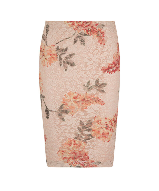 Lace Overlay Pencil Skirt, Peach Pattern, hi-res
