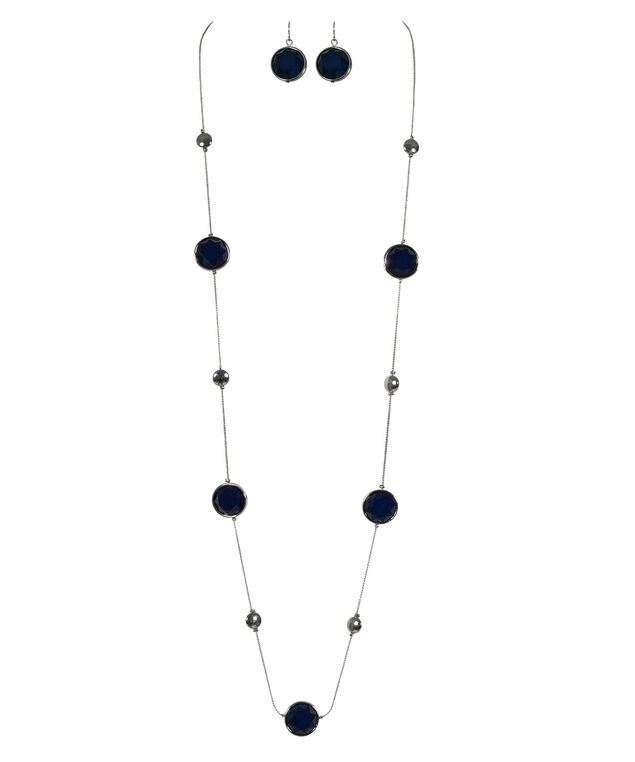 Stationed Faceted Blue Bead Necklace Set, Deep Sapphire/Rhodium, hi-res