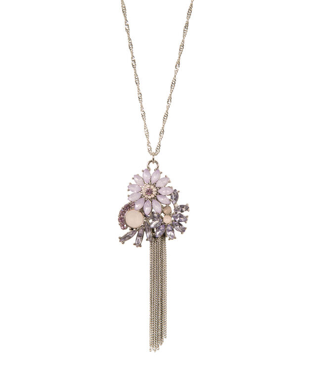 Flower Crystal Long Necklace, Lavender/Peach/Rhodium, hi-res