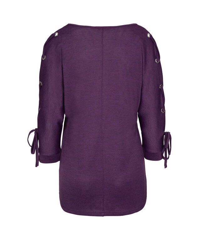 Grommeted Tie Sleeve Top, Grape/Black Mix, hi-res