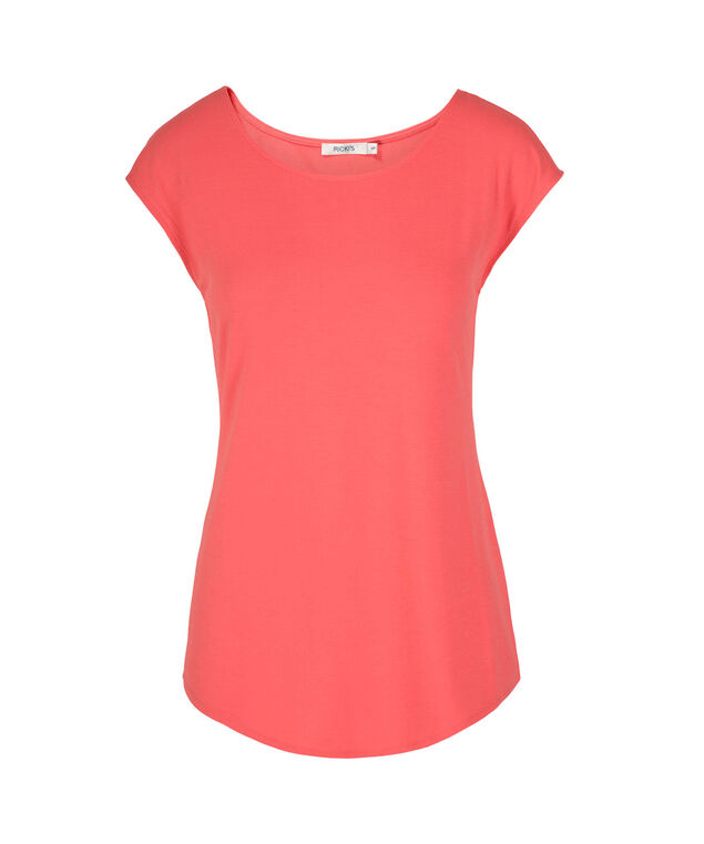 Extended Sleeve Scoop Neck Tee, Strawberry Daiquiri, hi-res