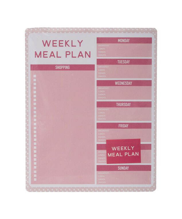 Weekly Meal Planner, Pink/White, hi-res