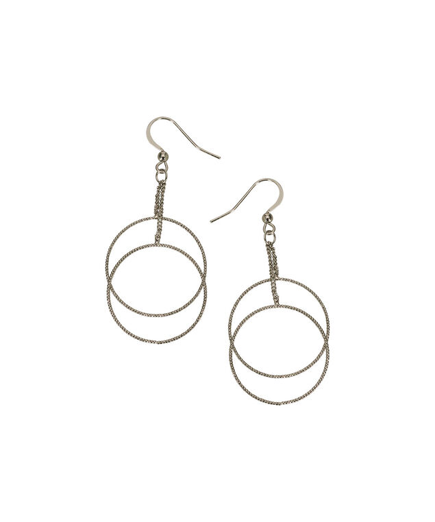Double O-Ring Drop Earring, Rhodium, hi-res
