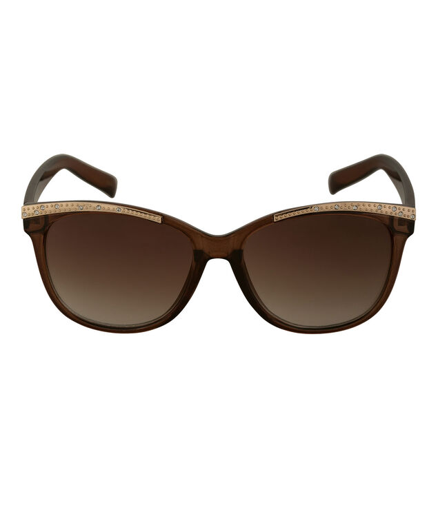 Gold Brow Detail Cateye Sunglasses, Brown/Gold, hi-res