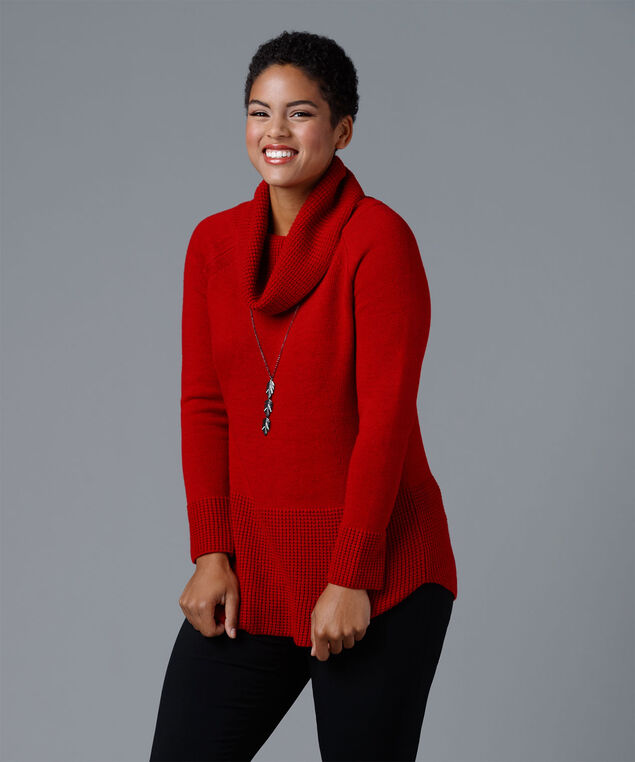 Cowl Neck Shirt-tail Pullover, Crimson, hi-res