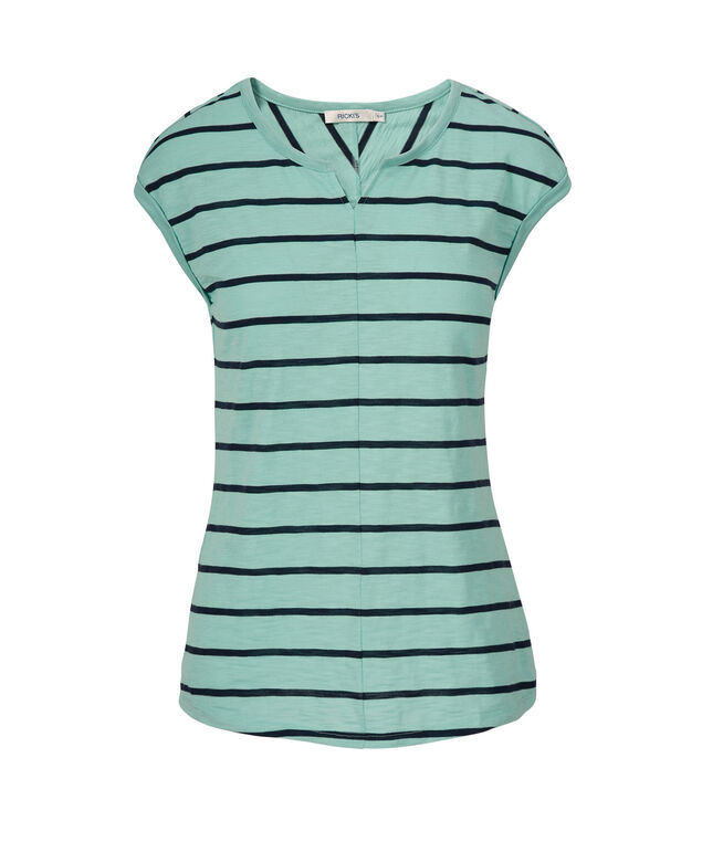 Extended Sleeve Notch Neck Tee, Aqua/Blue Stripe, hi-res