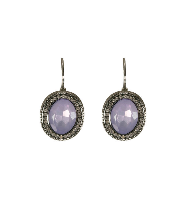 Oval Faceted Stone Drop Earring, Iced Violet/Rhodium, hi-res