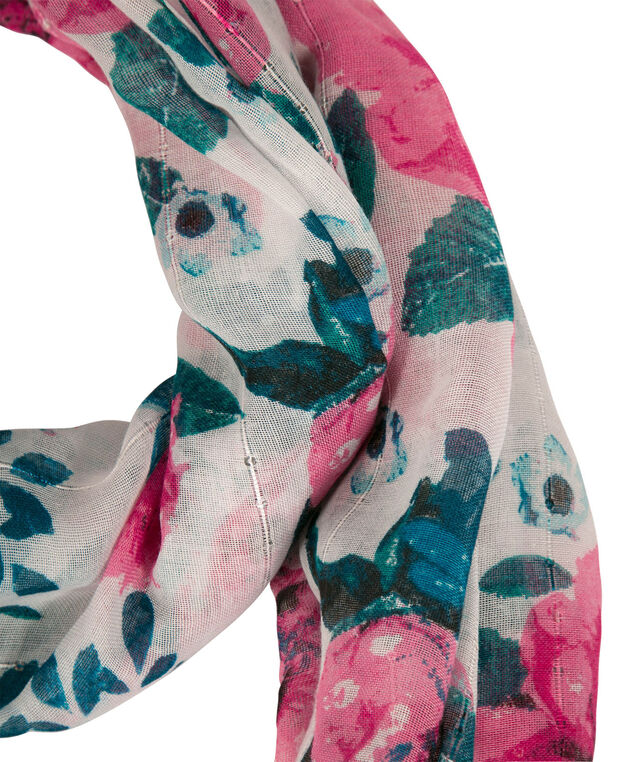 Floral Printed Sequined Eternity Scarf, Pink/Green/Blue, hi-res