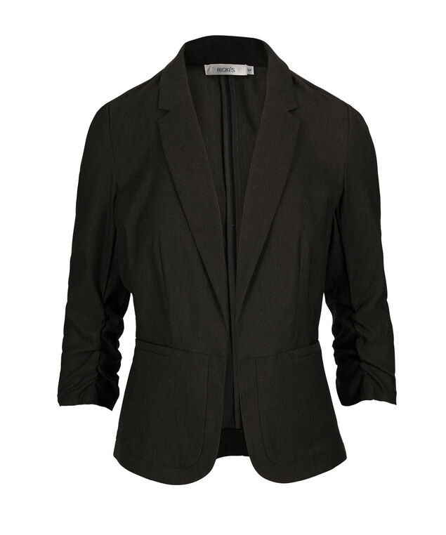 Microtwill Ruched Blazer, Charcoal Melange, hi-res