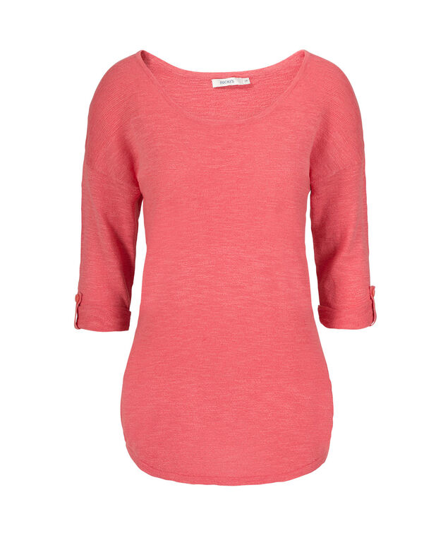 Ribbed Striped Shirt-Tail Pullover, Coral, hi-res