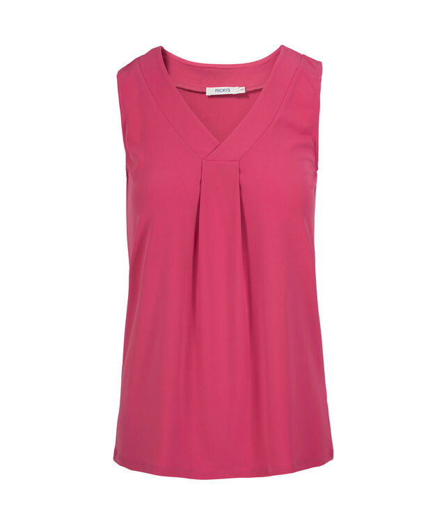 Sleeveless Pleated V-Neck Top, Hot Pink, hi-res