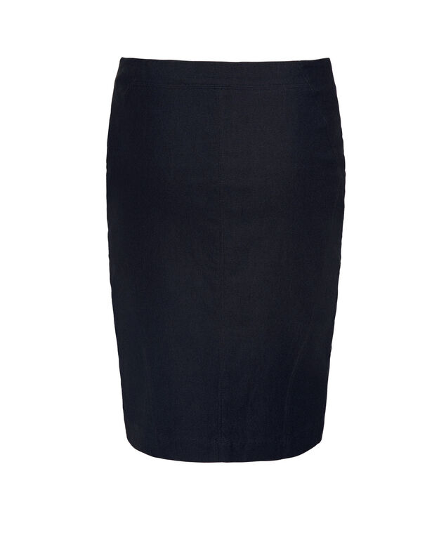 Microtwill Pull On Pencil Skirt, Heather Navy, hi-res