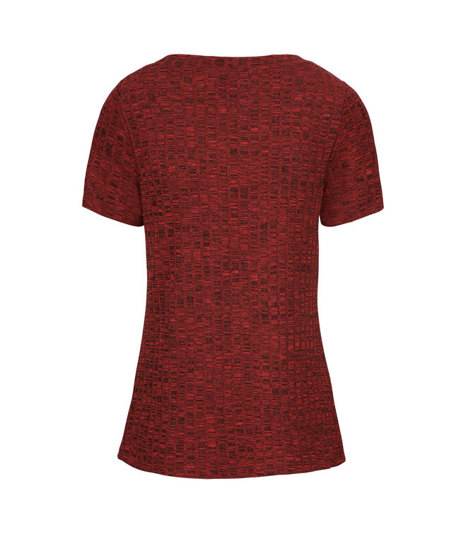 Short Sleeve Ribbed Top, Cranberry, hi-res