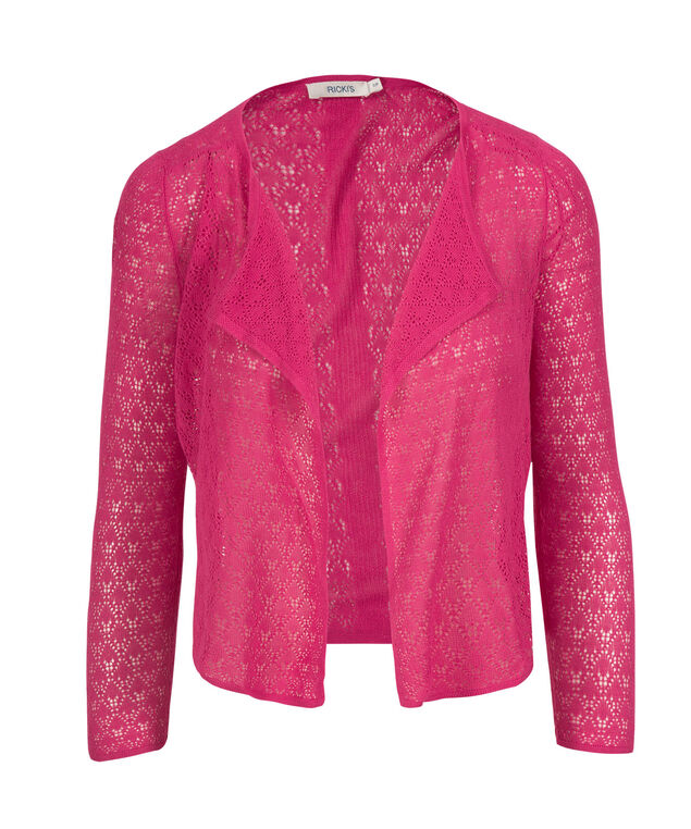 Pointelle Dress Cardigan, Hot Pink, hi-res