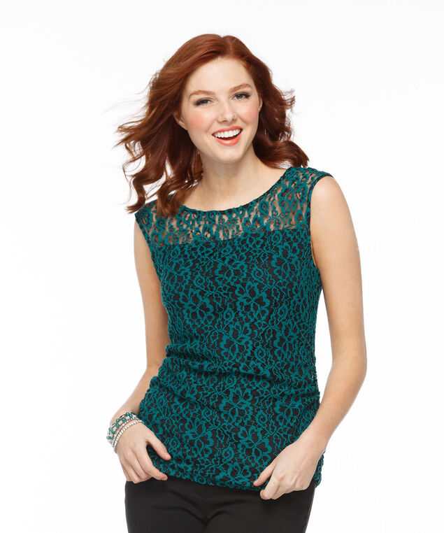 Lace Illusion Neck Top, Black/Green Lace, hi-res