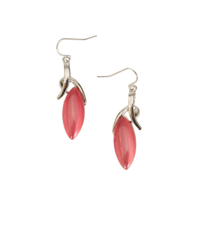 Oval Cateye Earrings, Bright Coral/Rhodium, hi-res