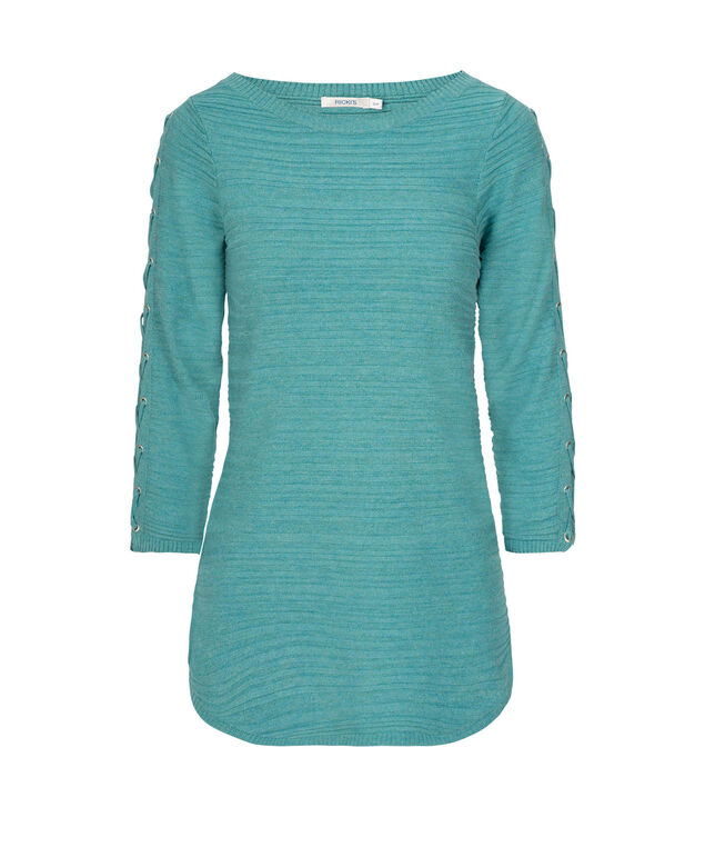 Lace-Up Sleeve Pullover, Teal, hi-res
