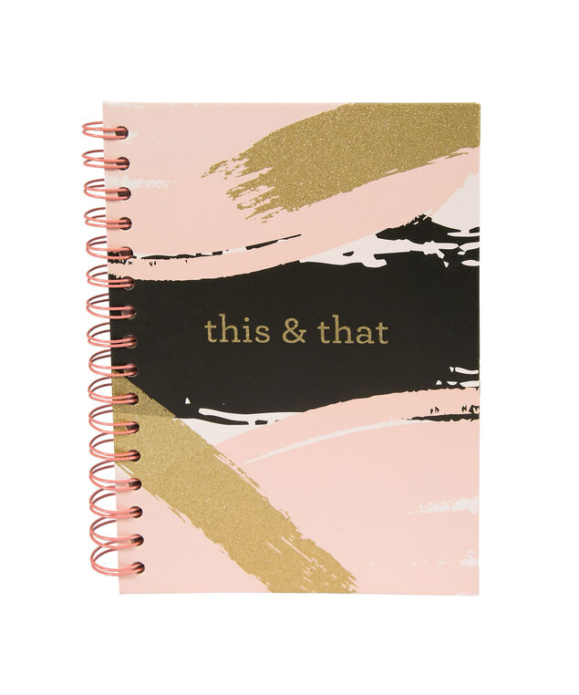 This & That Notebook, Pink/Black/Gold, hi-res