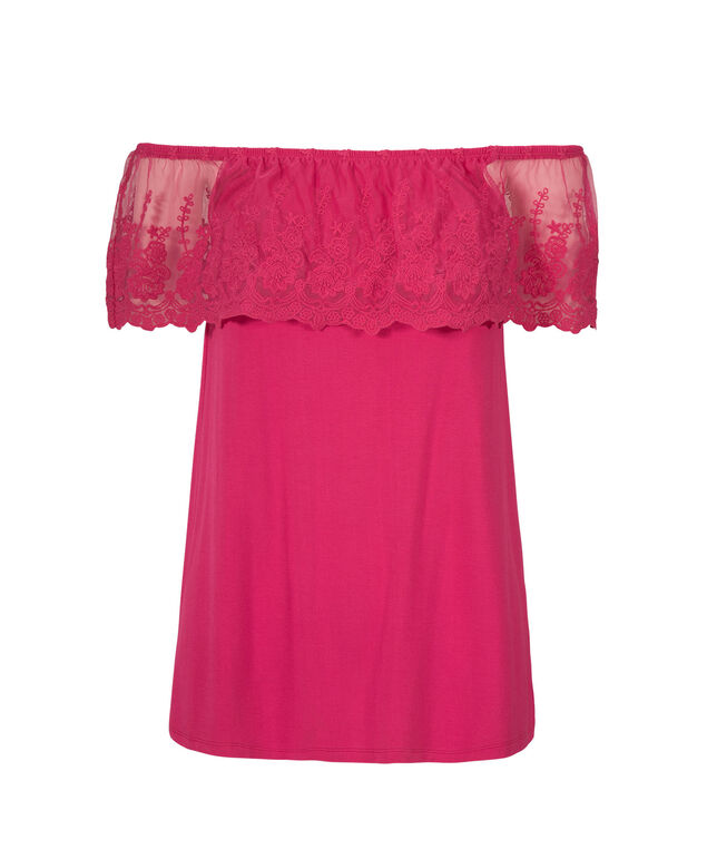 Convertible Ruffle Neckline Top, Hot Pink, hi-res