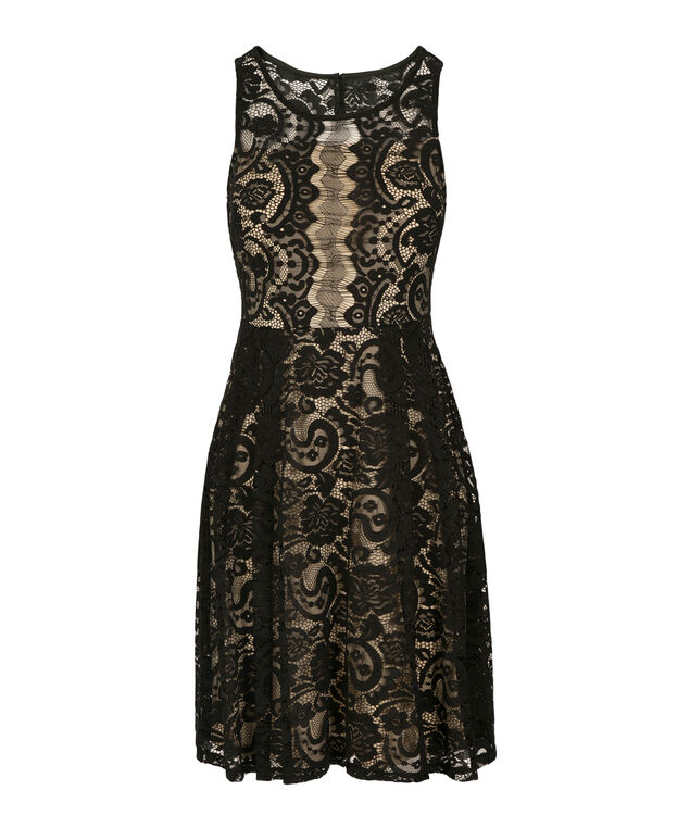 Lace Illusion Neck Dress, Black, hi-res