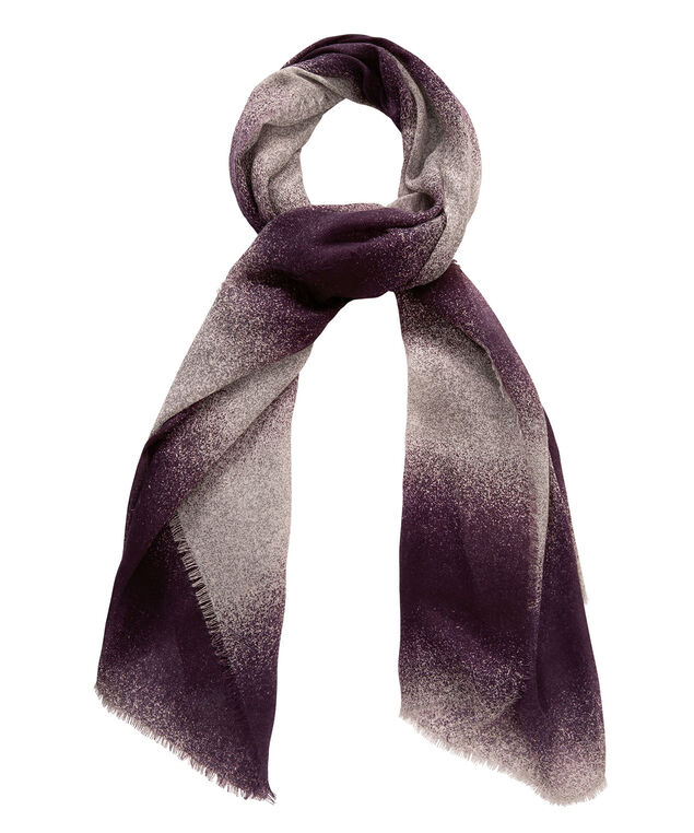 Ombre Striped Oblong Scarf, Blackberry/Grey/White, hi-res