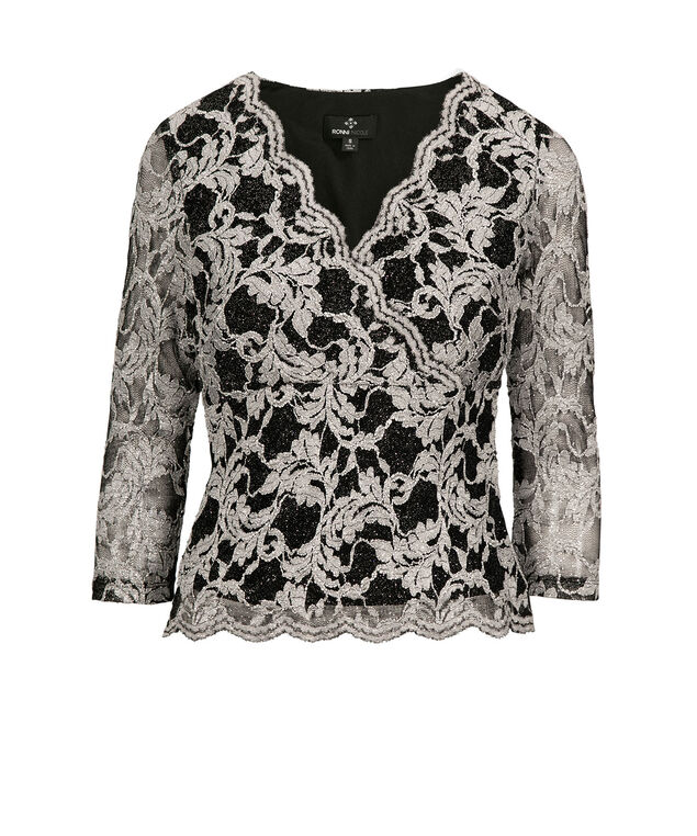 Scalloped Lace Cross-over Top, Silver/Black, hi-res