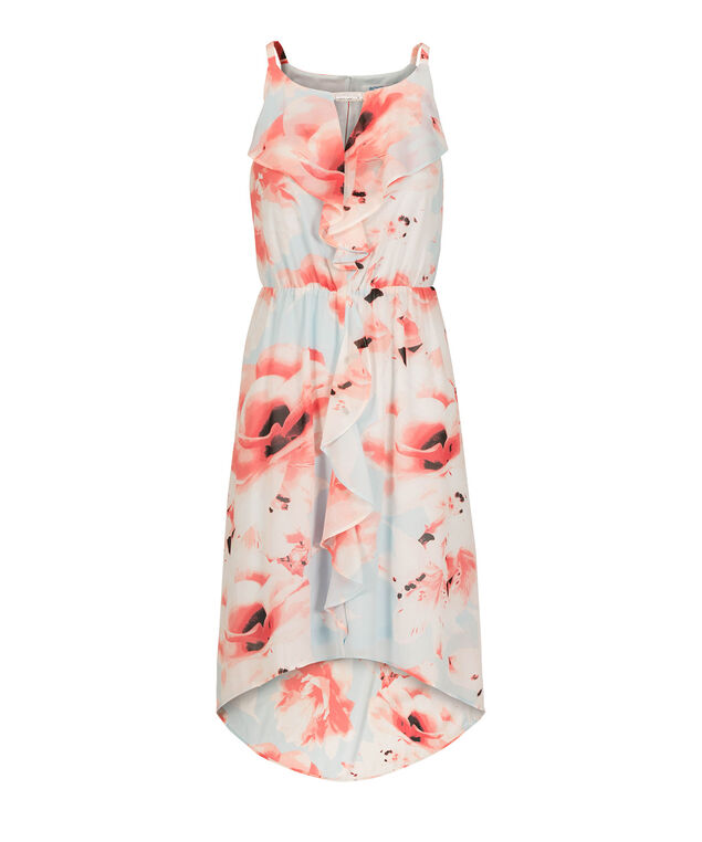 Ruffle Front High-Low Dress, Peach Print, hi-res