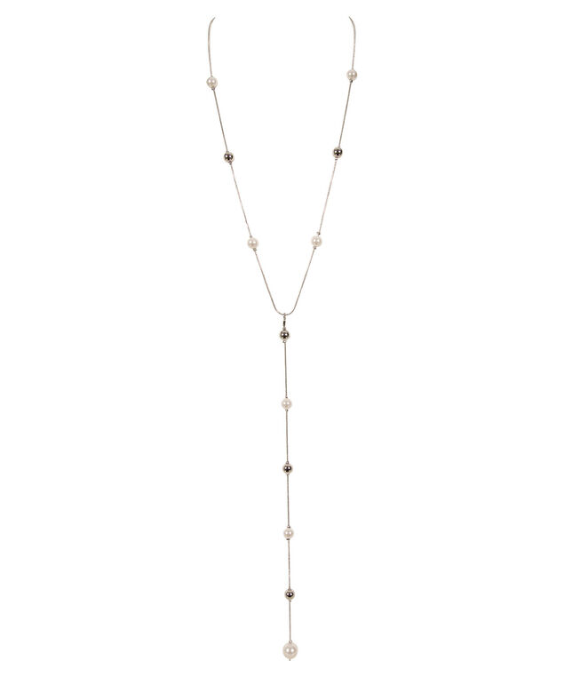 Pearl and Metal Ball Necklace, White/Rhodium, hi-res