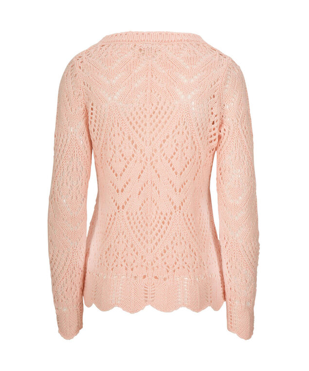 Crochet Pullover Sweater, Pale Pink, hi-res