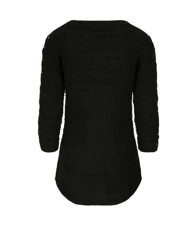 Lace-Up Sleeve Pullover, Black, hi-res