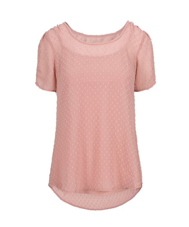 Swiss Dot Layered Blouse, Baked Rose, hi-res