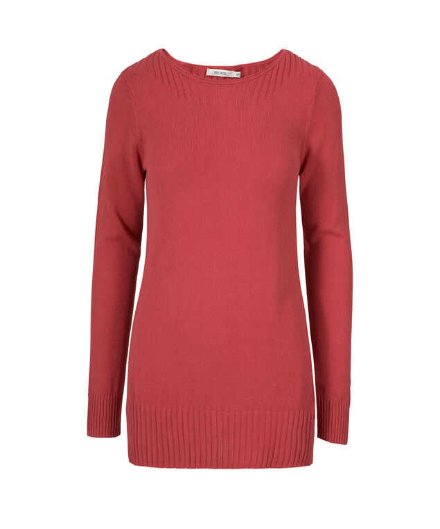 Boat Neck Ribbed Pullover, Watermelon, hi-res