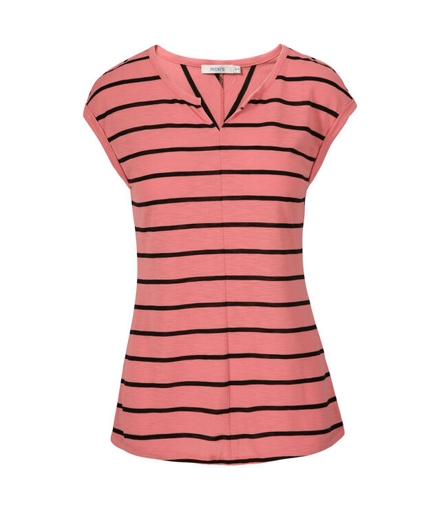 Extended Sleeve Notch Neck Tee, Coral/Black Stripe, hi-res