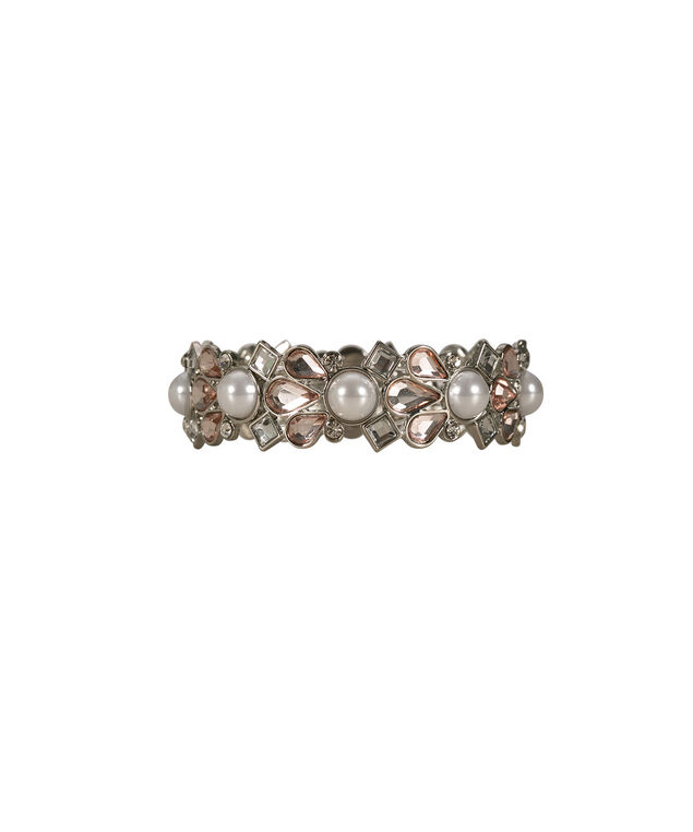 Pearl & Faceted Stone Bracelet, Pink/White/Rhodium, hi-res