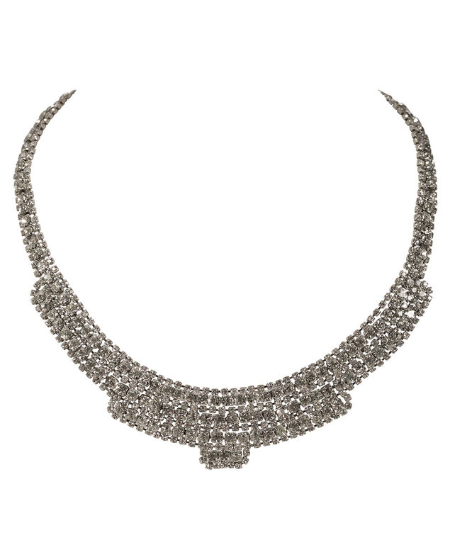 CRYSTAL PAVE STATEMENT NECKLACE, Rhodium, hi-res