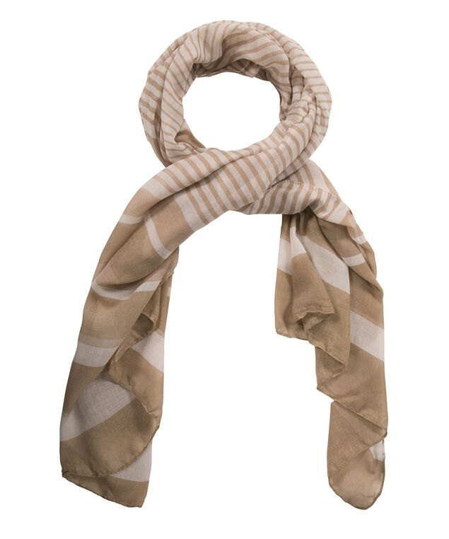 MIXED STRIPE OBLONG SCARF, Brown/White, hi-res
