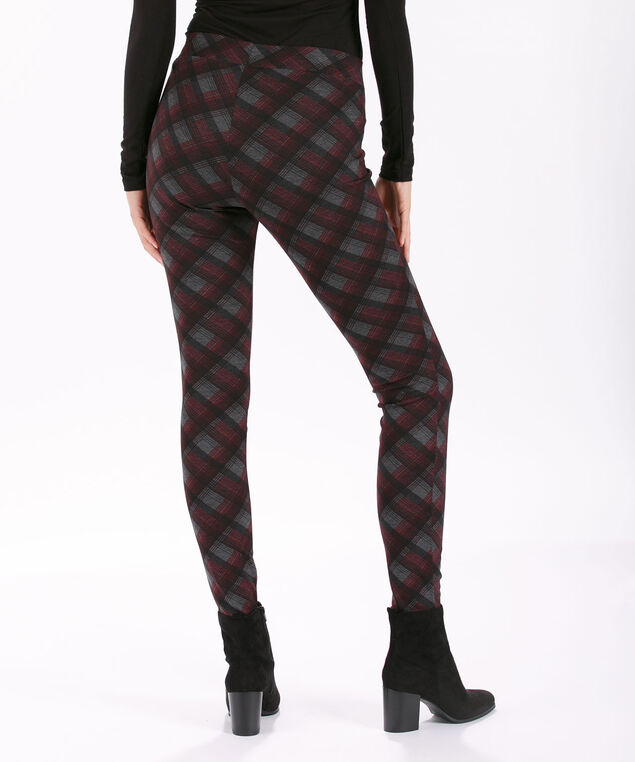 Plaid Luxe Ponte Legging, Cranberry Plaid, hi-res