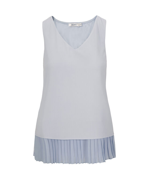 Sleeveless Pleat Bottom Top, Soft Blue, hi-res