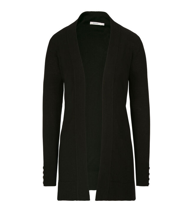 Button-Trim Long Open Cardigan, Black, hi-res