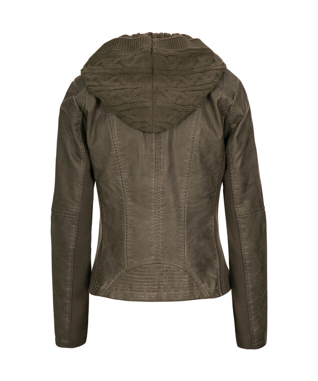 Removable Hood Pleather Jacket, Grey, hi-res