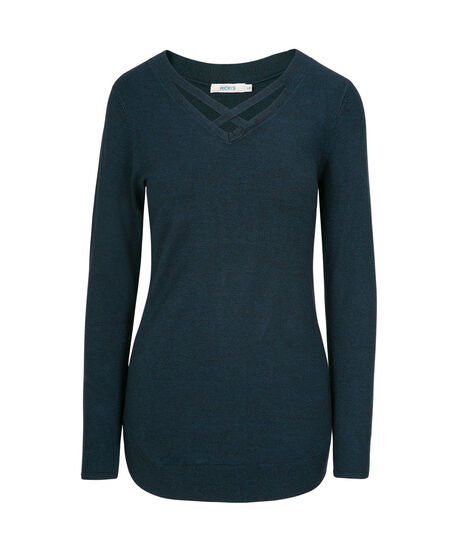 Criss-Cross Neck Pullover Sweater, Steel Blue/Black Mix, hi-res
