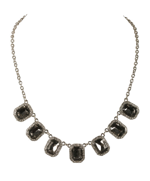 SQUARE  STONE AND CRYSTAL STATEMENT NECKLACE, Black/Rhodium, hi-res