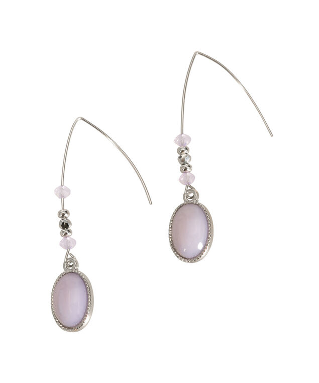 Oval Drop Earring, Lavender/Rhodium, hi-res